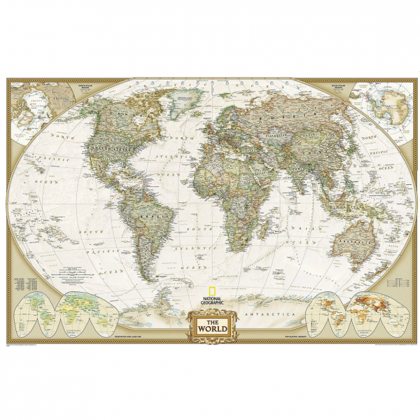 Large World Executive Wall Map