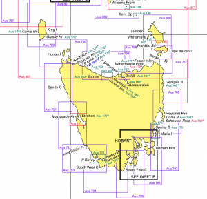 Map Of Australia Tasmania And New Zealand.Tasmanian Charts The Tasmanian Map Centre
