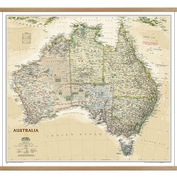 Australia executive wall map on hangers