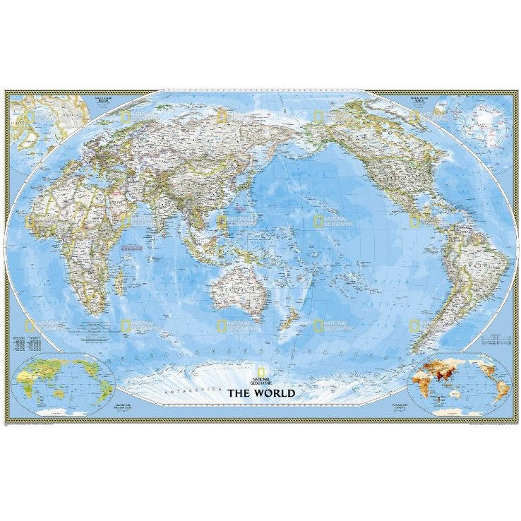 World Map Australia Centered.World Classic Wall Map Pacific Centred