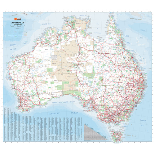 Australia Wall Map.Australia Super Wall Map