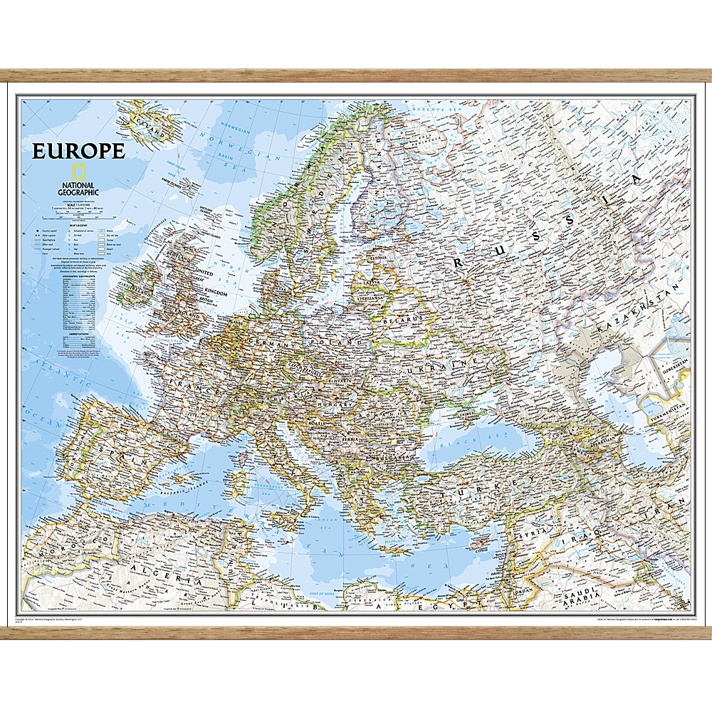 Europe Classic Wall Map The Tasmanian Map Centre