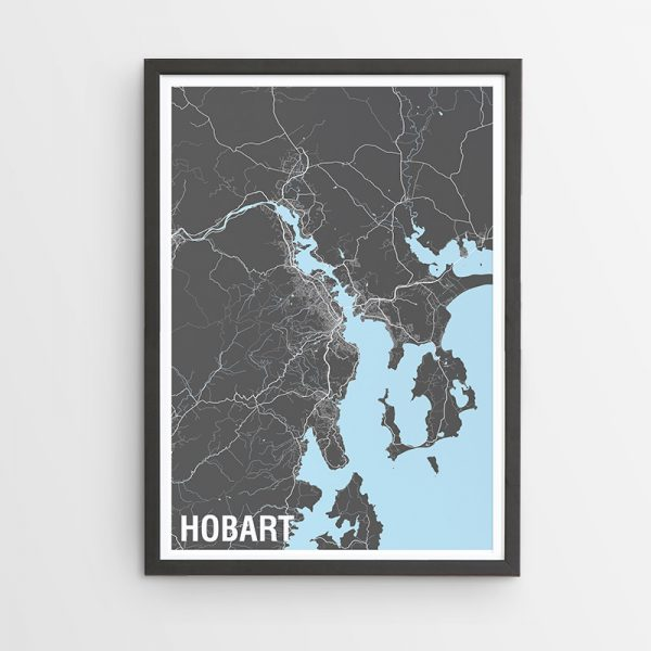 Hobart Two-Tone Map Print