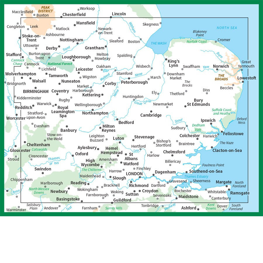 East Midlands and East Anglia OS Road Map 5  The Tasmanian Map Centre
