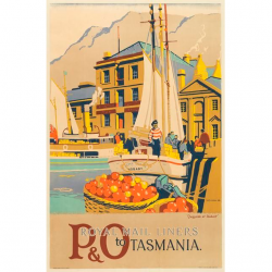 P&O Royal Mail Liners Tasmania Vintage Travel Print