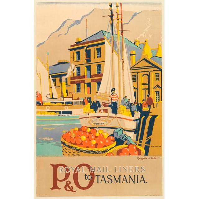 P&O Royal Mail Liners Tasmania Vintage Travel Print