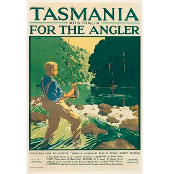 Tasmania for the Angler Vintage Travel Print