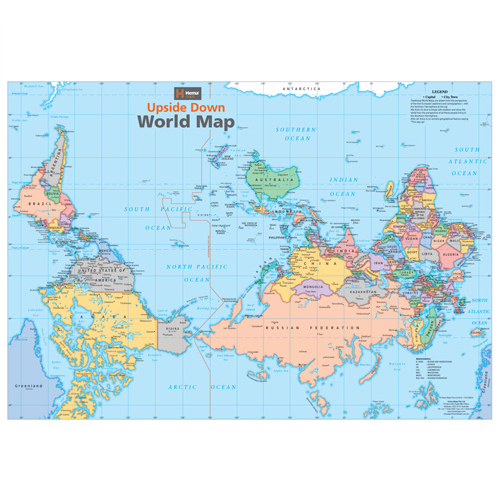 Upside Down World Map - The Tasmanian Map Centre on