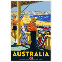 Bondi Beach Vintage Travel Print