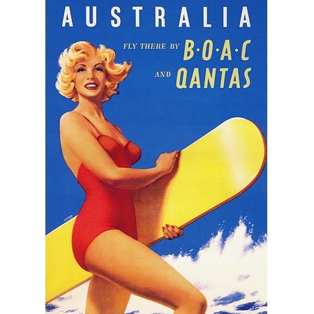Australia Qantas Vintage Travel Print