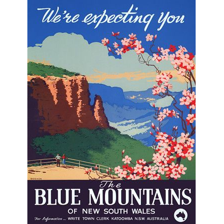 Blue Mountains Vintage Travel Print