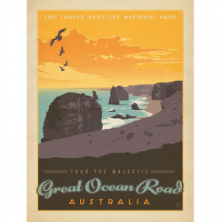 Great Ocean Road Vintage Travel Print