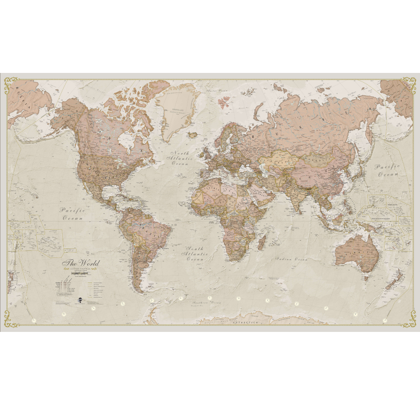 Antique World Wall Map