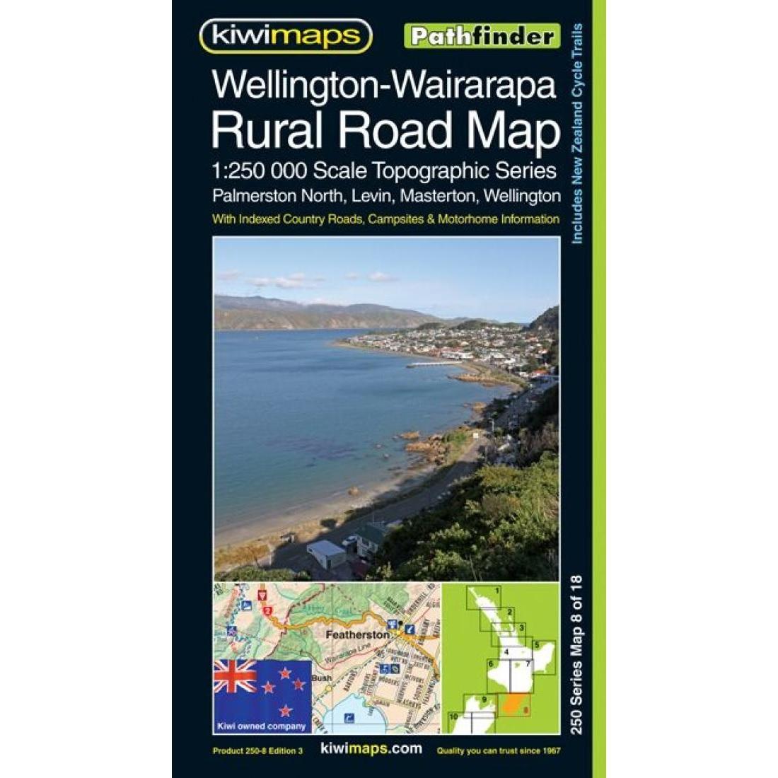 Wairarapa New Zealand Map.Wellington Wairarapa Rural Road Map