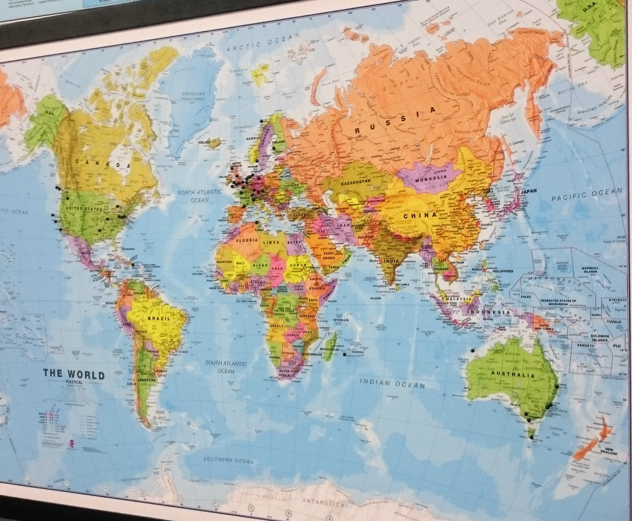 Image of: World Map Pinboard Black Frame The Tasmanian Map Centre