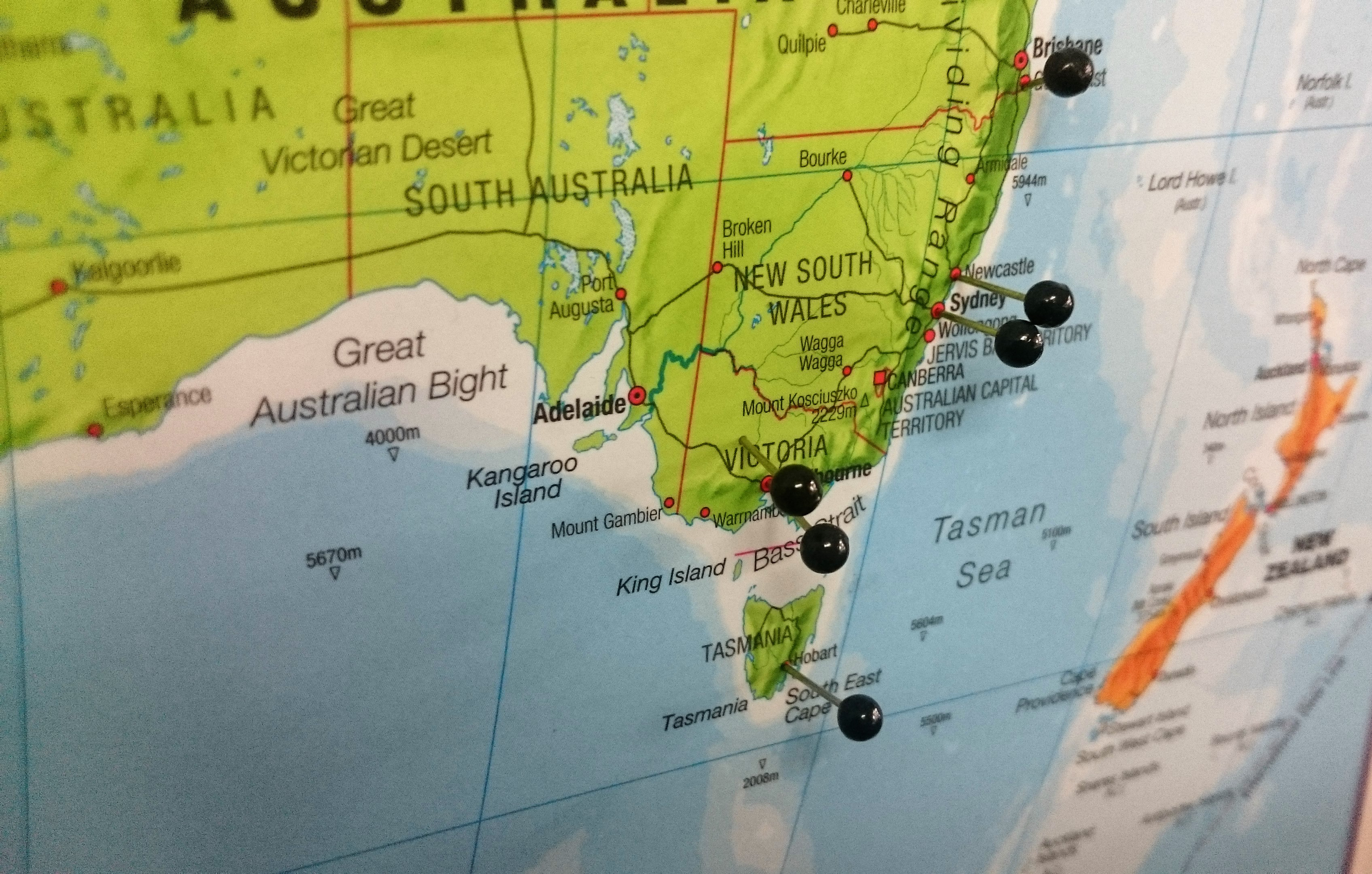 Map pin board australia the tasmanian map centre map pin board australia gumiabroncs Gallery
