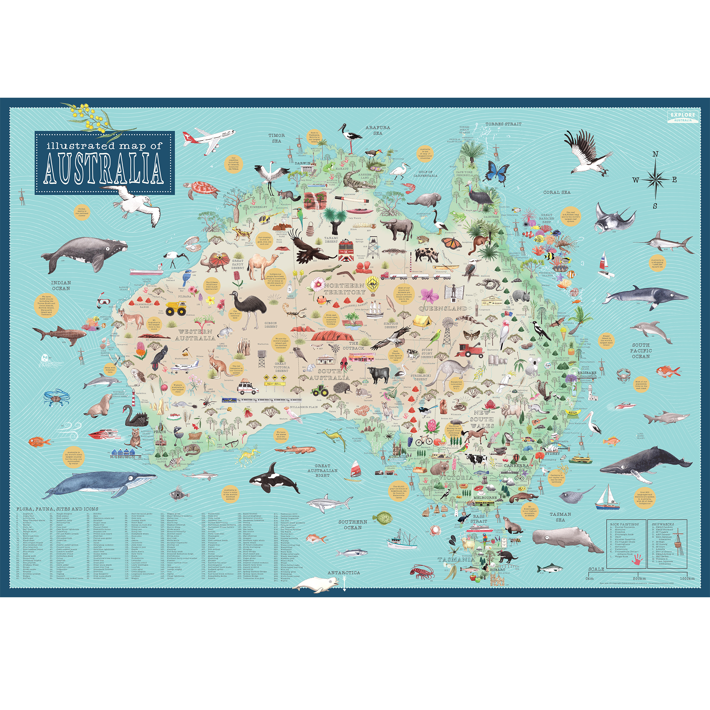Illustrated Map of Australia - The Tasmanian Map Centre