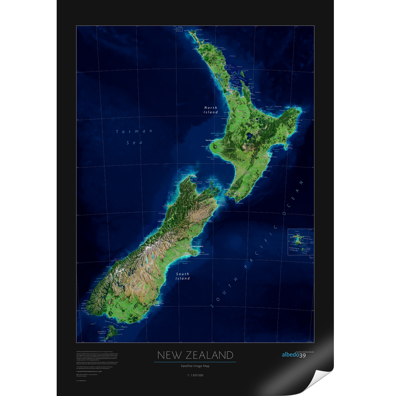New Zealand Map Of The World.New Zealand Satellite Image Poster