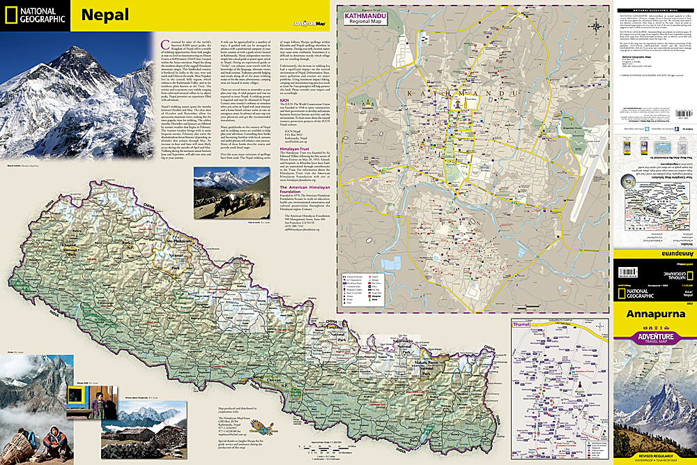 Annapurna Adventure Travel Map The Tasmanian Map Centre - National geographic travel map