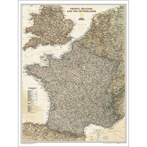France Belgium Netherlands Executive Wall Map