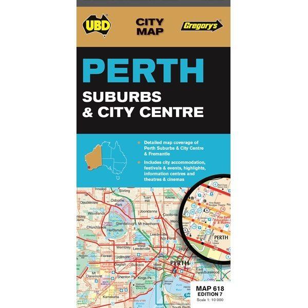 Perth Suburbs & City Centre Map