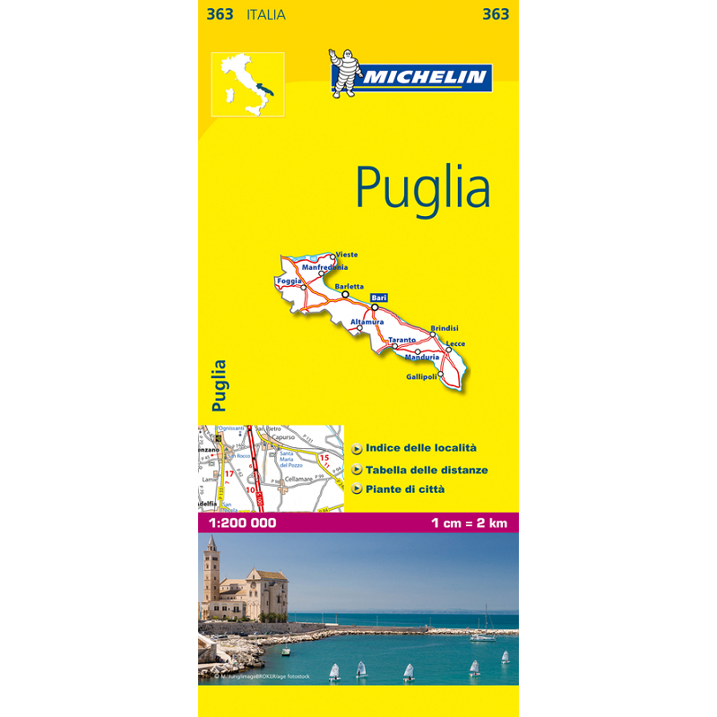 Puglia Region Italy Map 363 The Tasmanian Map Centre