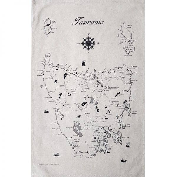Tasmania Map Tea Towel