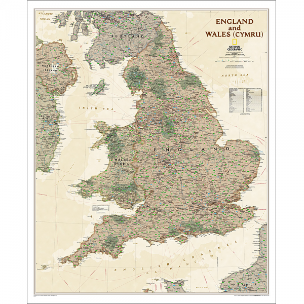 England and Wales Executive Wall Map