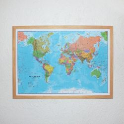 World Map Pinboard Pine Frame