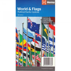 World and Flags Political Pacific Centred Map